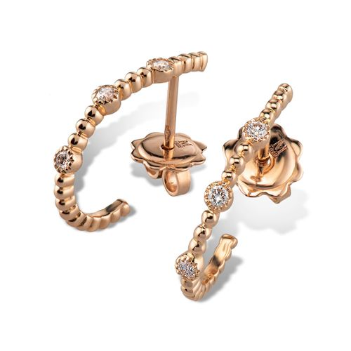 MORAGLIONE 1922 Mini Bubbles orecchini oro e diamanti kt.0.13 a mezzaluna