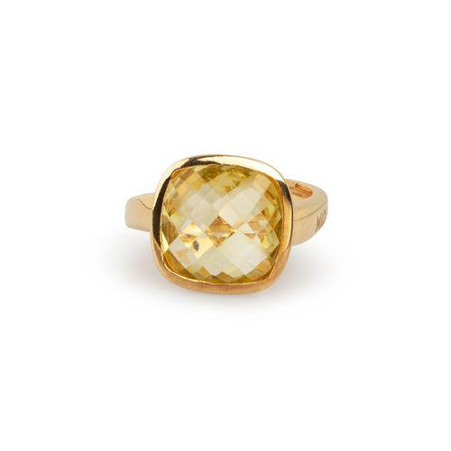 MIDI JEWELS anello con quarzo lemon in argento 925 con bagno d'oro giallo