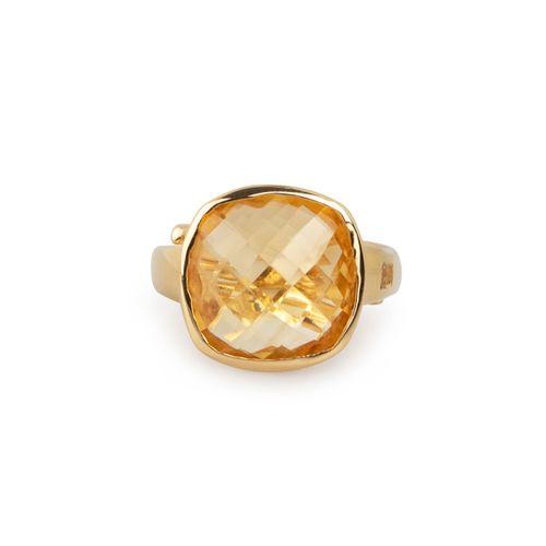 MIDI JEWELS anello con quarzo citrino in argento 925 con bagno d'oro giallo
